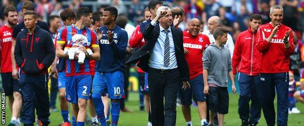 Alan Pardew leads Crystal Palace's celebrations