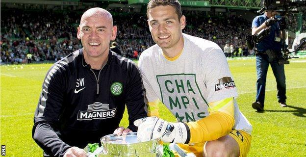 Celtic goalkeeping coach Stevie Woods with Craig Gordon