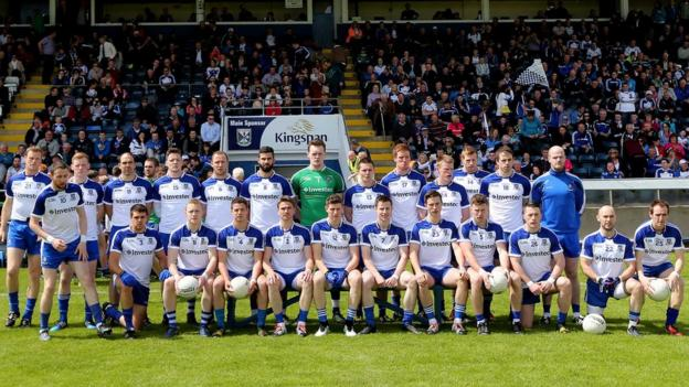 The men from Monaghan line up for the photographers ahead of the Breffni Park throw-in