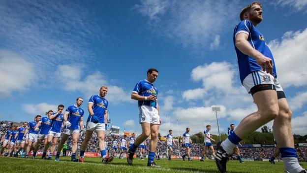 The Cavan and Monaghan teams on their pre-match parade before the Ulster Championship quarter-final