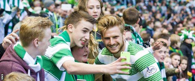 Stuart Armstrong (right) moved from Dundee United to Celtic alongside Gary Mackay-Steven