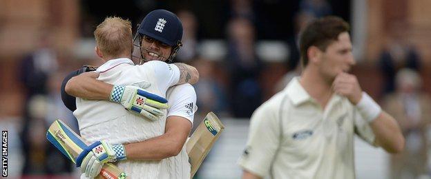 Ben Stokes hugs Alastair Cook