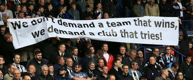 Newcastle fans protest against Mike Ashley
