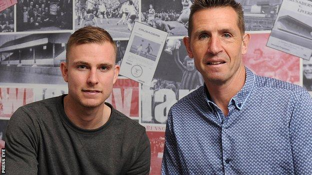 Andrew Mitchell with Crusaders manager Stephen Baxter