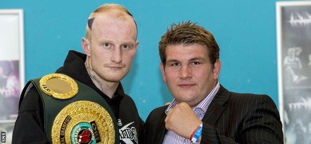 Gary Cornish (left) joins his next opponent John McDermott