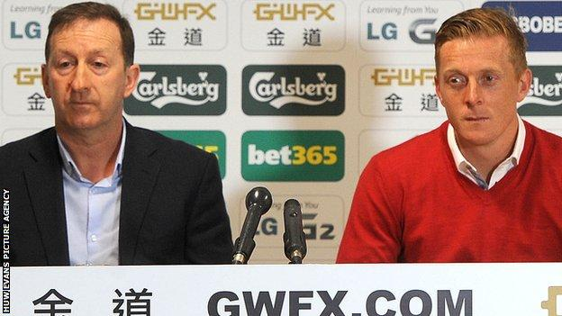 Swansea chairman Huw Jenkins (left) with manager Garry Monk (right)