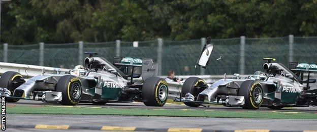 Hamilton and Rosberg collide during the second lap of last year's Belgium Grand Prix