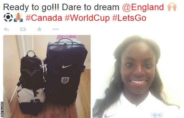 England striker Eniola Aluko gets ready to travel to Canada