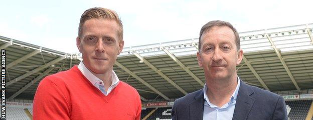 Swansea City manager Garry Monk and chairman Huw Jenkins