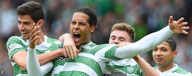 Virgil van Dijk celebrates with Celtic
