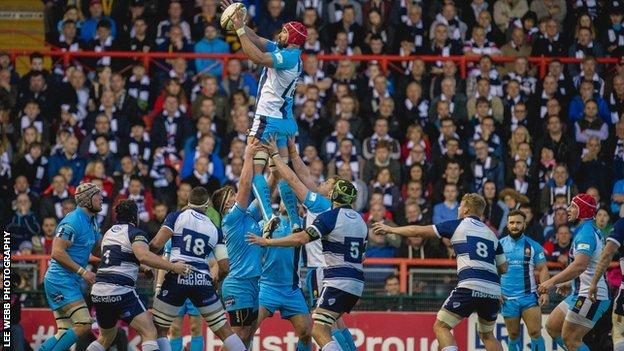Warriors lock Jonathan Thomas wins a line-out in Warriors' Championship play-off final first-leg triumph at Ashton Gate