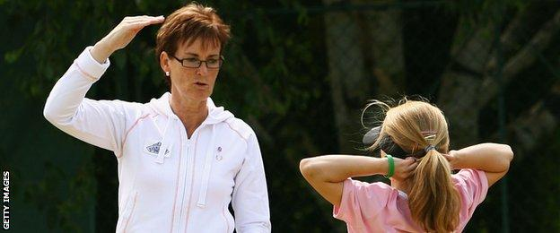 Judy Murray coaches young girls as part of the LTA's 'Think Pink' campaign