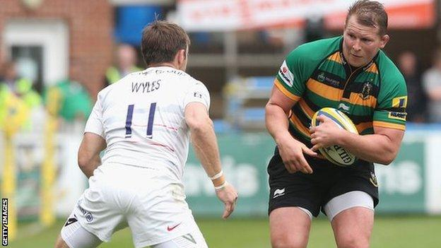 Dylan Hartley in action for Northampton