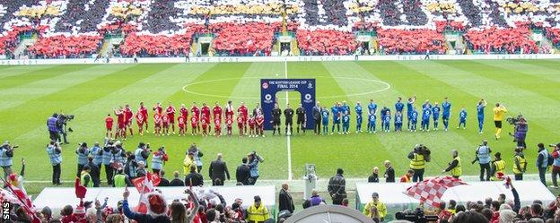 Aberdeen and Inverness players line up before last season's League Cup final
