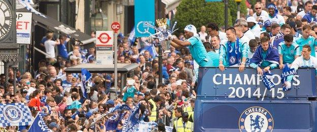 Chelsea celebrate on a bus
