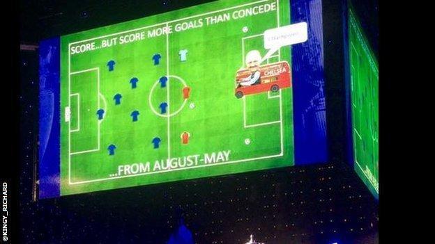 Jose Mourinho makes a tongue in cheek speech