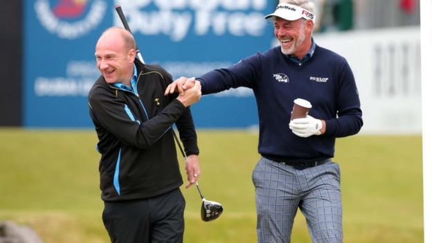 BBC Sport NI presenter Stephen Watson enjoys a bit of banter with Ryder Cup captain Darren Clarke