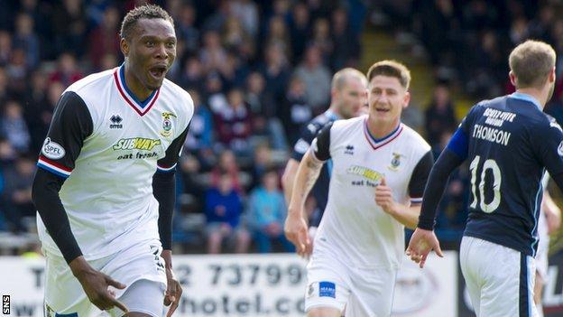 Edward Ofere celebrates a vital goal against Dundee
