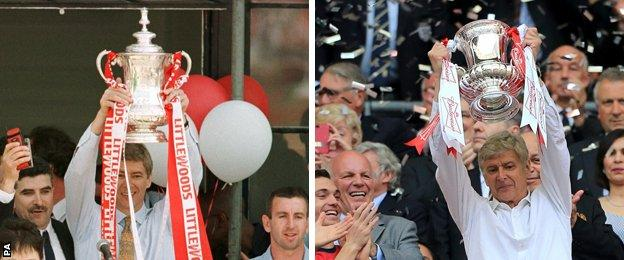 Arsene Wenger lifts the FA Cup for the first time in 1998 (l) and for the fifth time last year (r)
