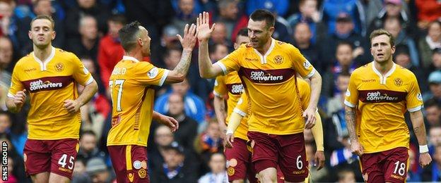 Stephen McManus nodded in Motherwell's second goal at Ibrox