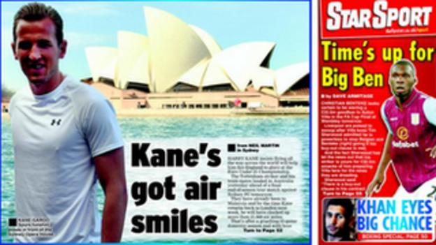 The back page of Friday's Daily Star focuses on Tottenham forward Harry Kane