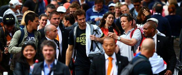Andy Murray leaves a practice session in the French Open