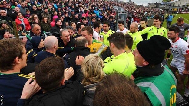 Tempers flared as the players attempted to make their way to the dressing-rooms at MacCumhaill Park