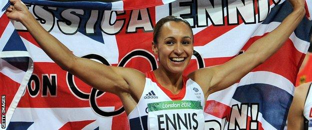 Jessica Ennis-Hill celebrates winning Olympic gold