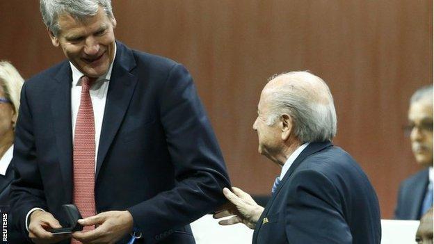 David Gill (left) and Sepp Blatter