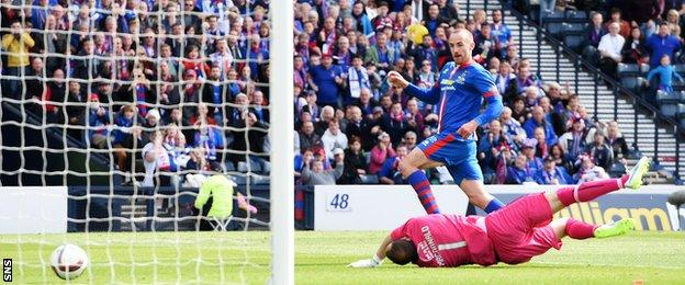 James Vincent scores the winner for Inverness Caledonian Thistle in the Scottish Cup final against Falkirk