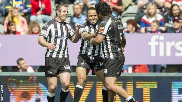 Patrick Ah Van is congratulated after his first try in the Magic Weekend win over Salford