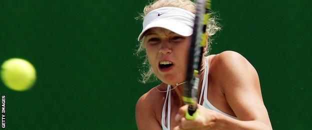 Caroline Wozniacki aged 15
