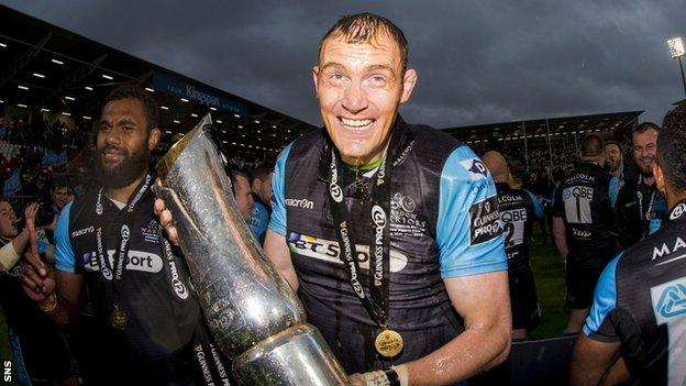Glasgow Warriors' Al Kellock celebrates at full time, his last game for the club
