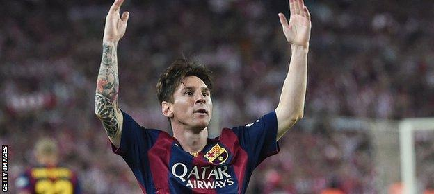 Lionel Messi scores against Athletic Bilbao in Copa Del Rey Final