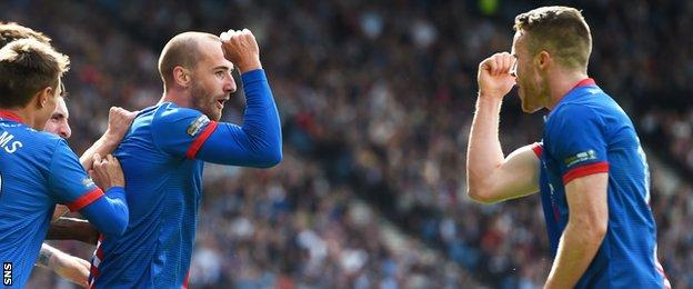 Inverness CT's James Vincent (left) celebrates his goal with team-mate Marley Watkins