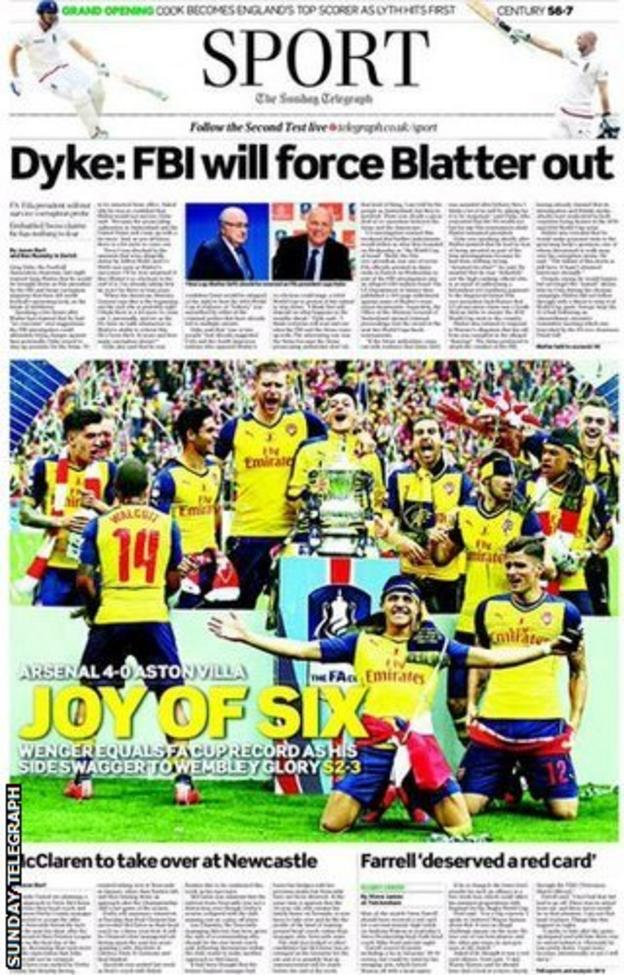 The back page of the Sunday Telegraph