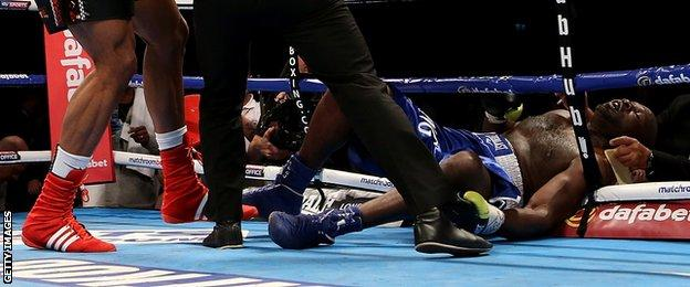 Kevin Johnson is knocked out by Anthony Joshua