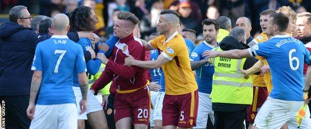 An ugly fight marred a good result for Motherwell, who stay in the Premiership