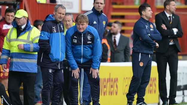 Rangers manager Stuart McCall (centre) conceded Motherwell were the better team over two legs