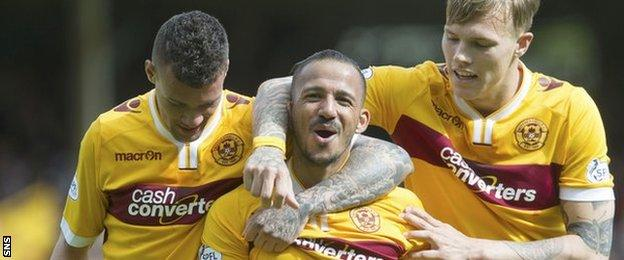 Motherwell's Lionel Ainsworth (centre) scored Motherwell's second