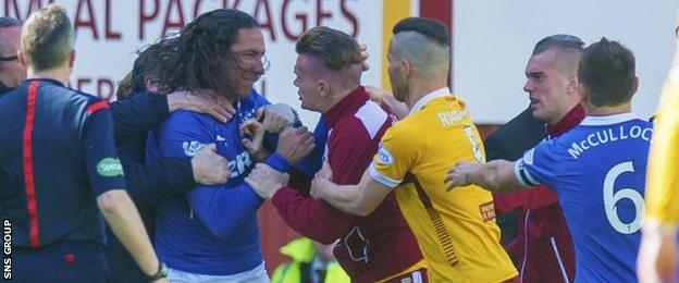 Bilel Mohsni and Fraser Kerr were separated by a group of players