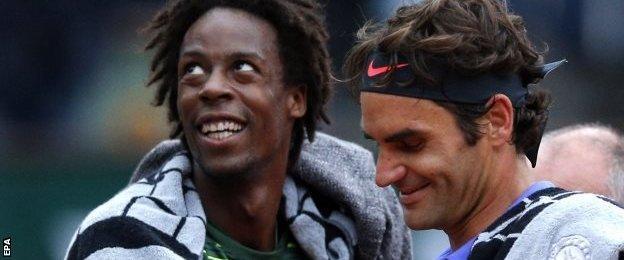 Gael Monfils (left) and Roger Federer