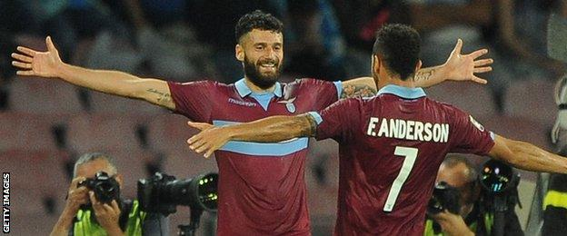 Antonio Candreva celebrates