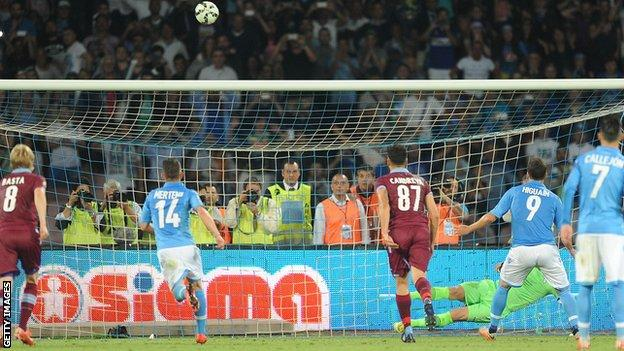 Gonzalo Higuain misses a penalty