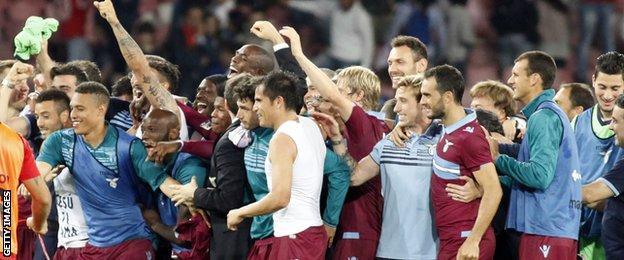 Lazio celebrate Champions League qualification