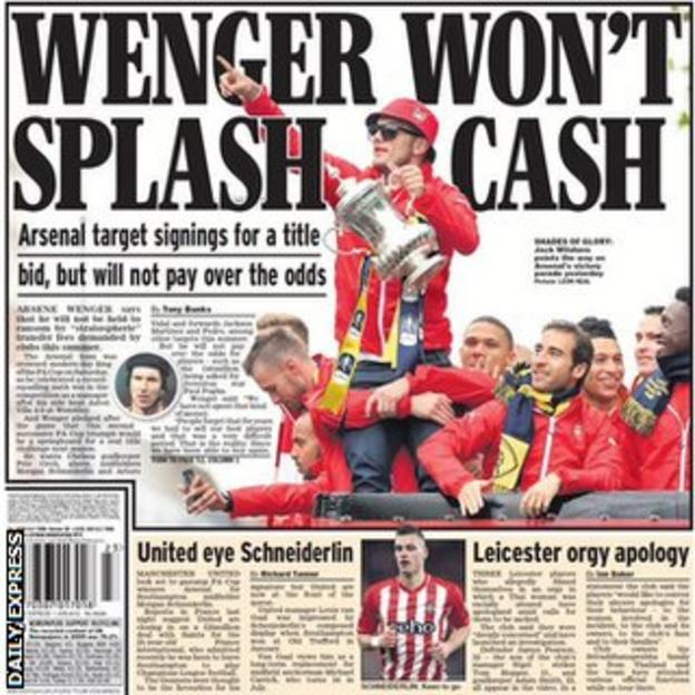 The back page of Monday's Daily Express features stories on Arsenal, Manchester United and Leicester