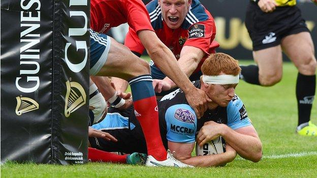 Rob Harley crosses the line for the opening try against Munster in Belfast