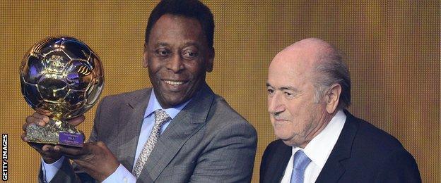 Pele (left) and Sepp Blatter