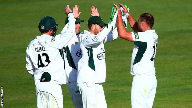 Joe Leach celebrated the third five-wicket haul of his career, all of which have been away from New Road