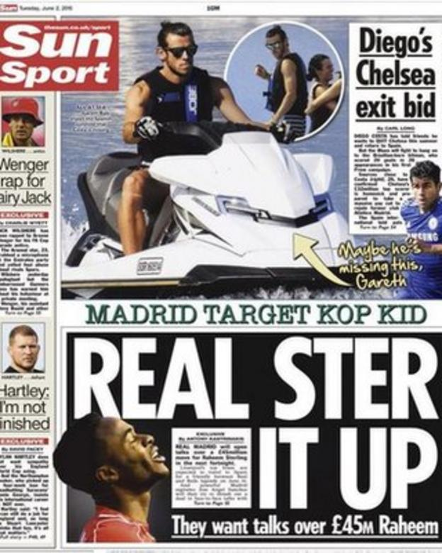 The back page of Tuesday's Sun